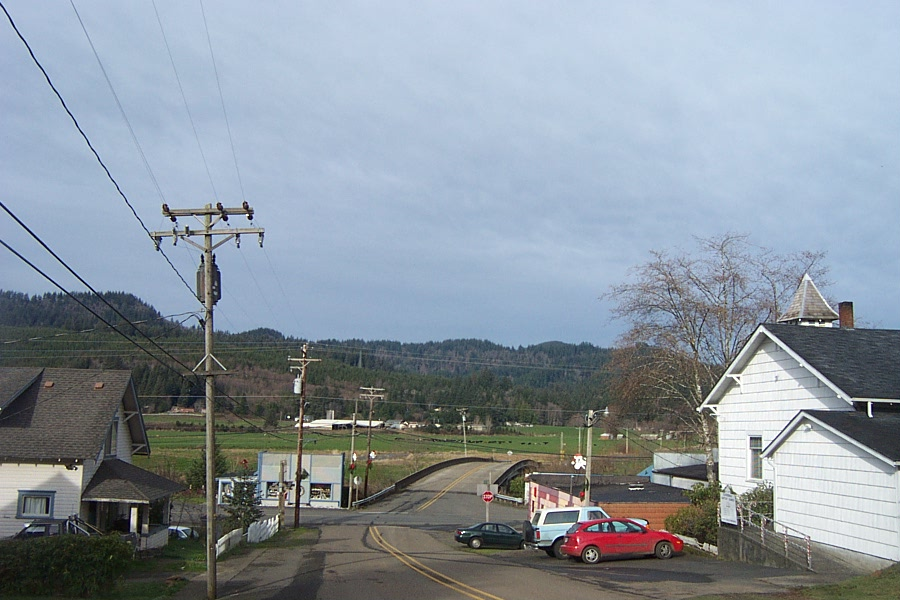 The main street of Cloverdale, Oregon.
