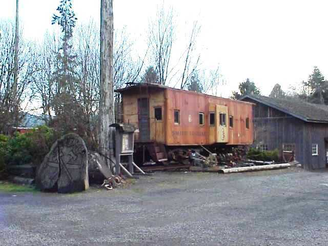 A retired railroad caboose at Elsie, Oregon.