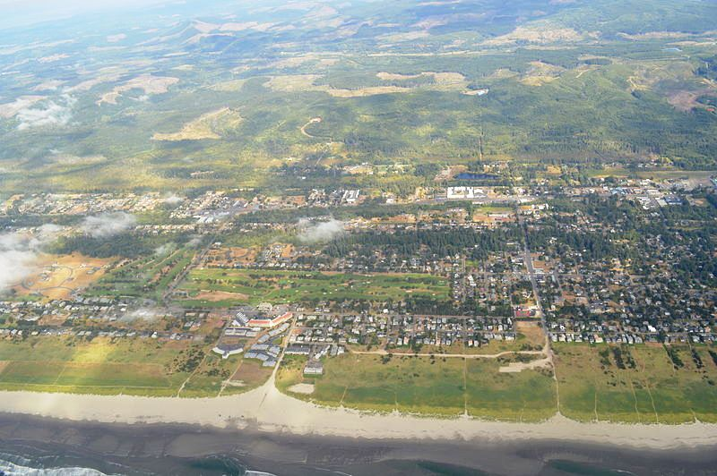 An aerial view of Gearhart, Oregon.