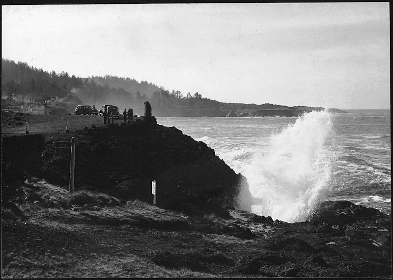 A Spouting Horn at Depoe Bay, Oregon.
