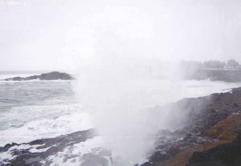 Depoe Bay spouting horn sprays Highway 101.