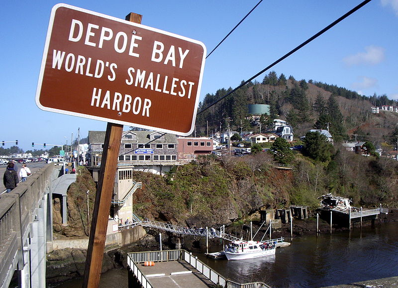Entrance sign for Depoe Bay, Oregon.