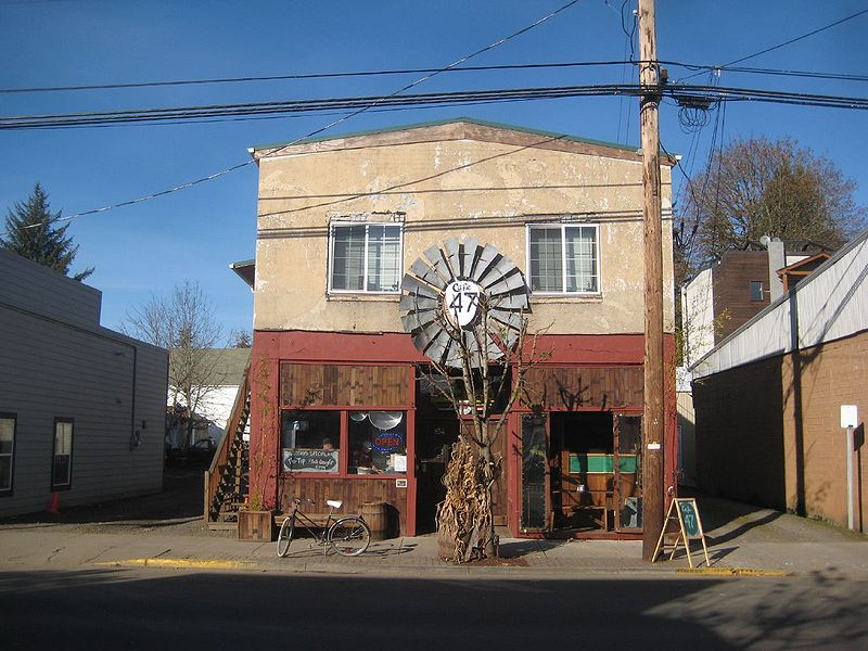 This tall little building houses a cafe in Vernonia, Oregon.
