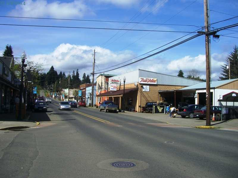 A view of Main Street in Vernonia, Oregon.