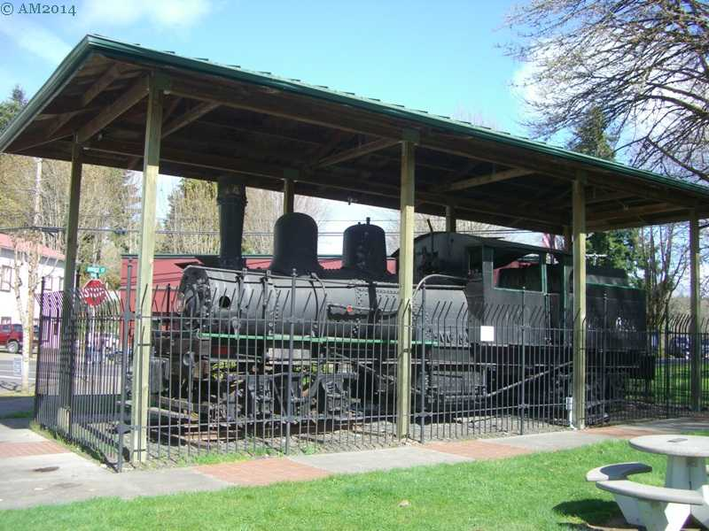 Another view of a Shay locomotive in Vernonia, Oregon.