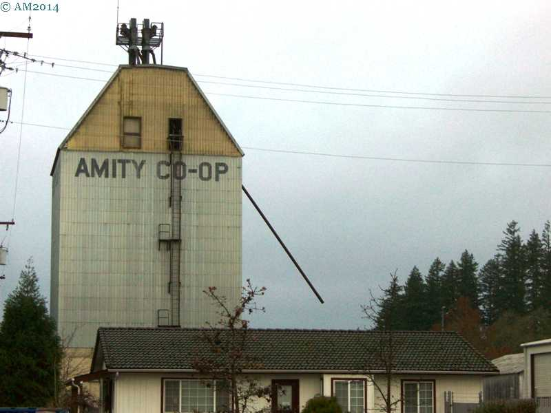 View of the Coop grain elevator in Amity, Oregon.