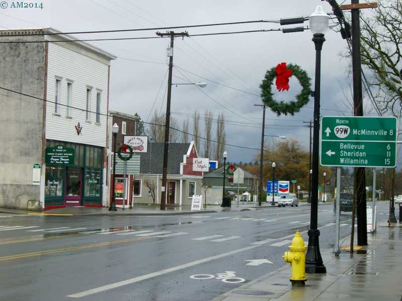 View of Main Street in Amity, Oregon.