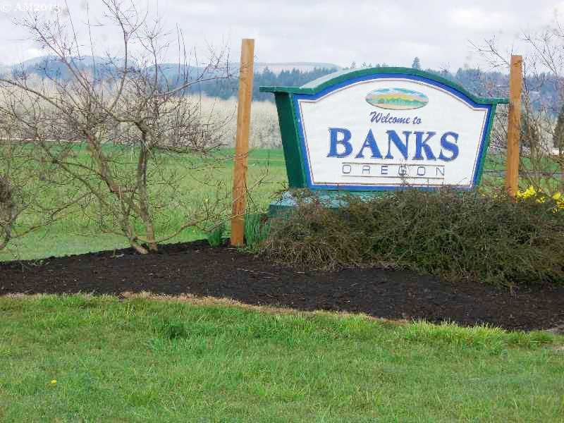 Banks, Oregon has a freshly painted sign to welcome the visitor.