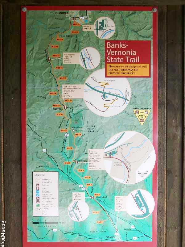 Trail Map of the walking and biking path to Vernonia.