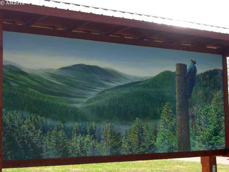 A mural of the huge forests nearMolalla, Oregon.