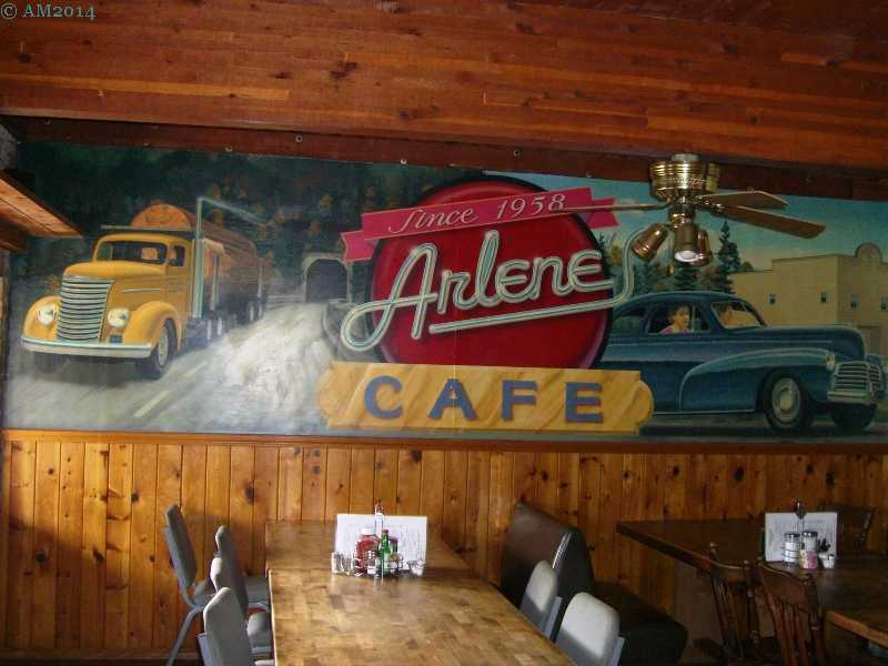 Mural inside Arlene's Cafe, Elkton, Oregon.
