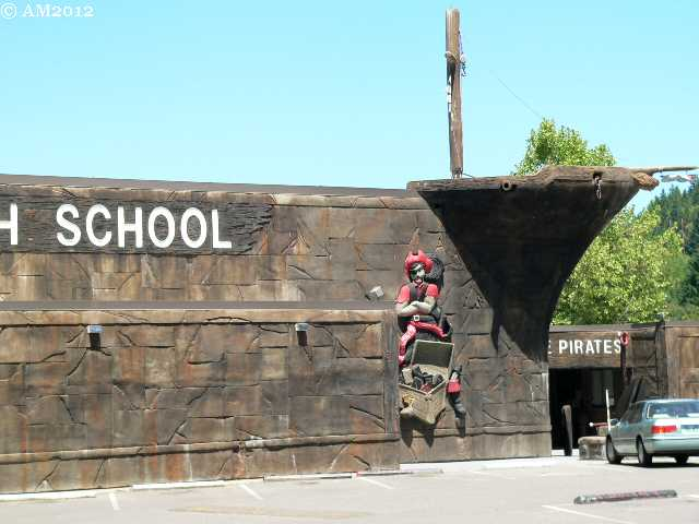 The High School building looks like a Pirate Ship in Glendale, Oregon.