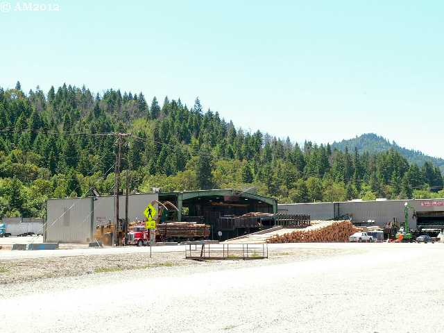 An operating sawmill yard in Glendale, Oregon.