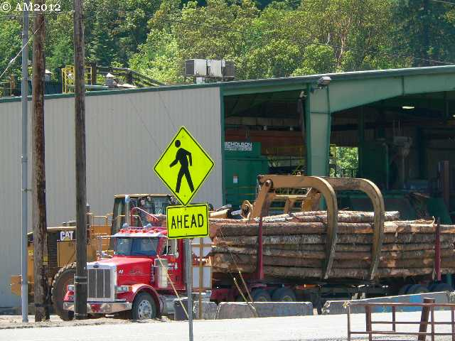 Unloading a log truck in Glendale, Oregon.