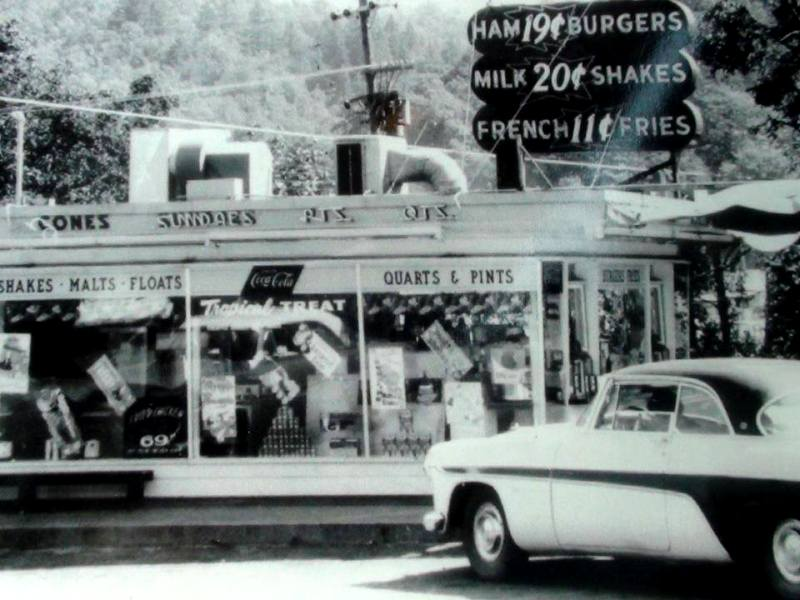 From about 1960, food prices at the Dairy Queen on Main Street, Myrtle Creek, Oregon.