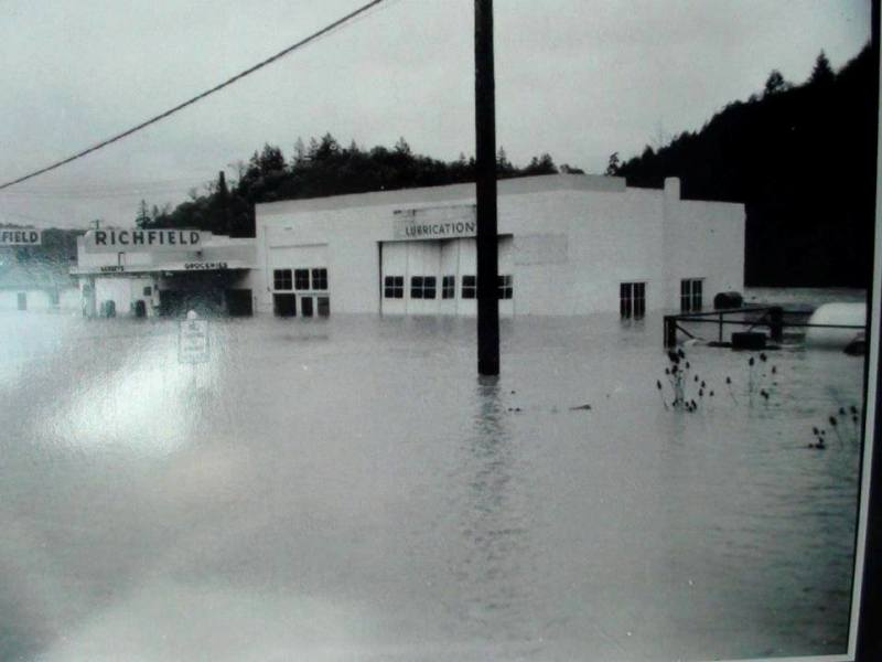 From the 1950's, the Myrtle Creek itself flooded Main Street, Myrtle Creek, Oregon.