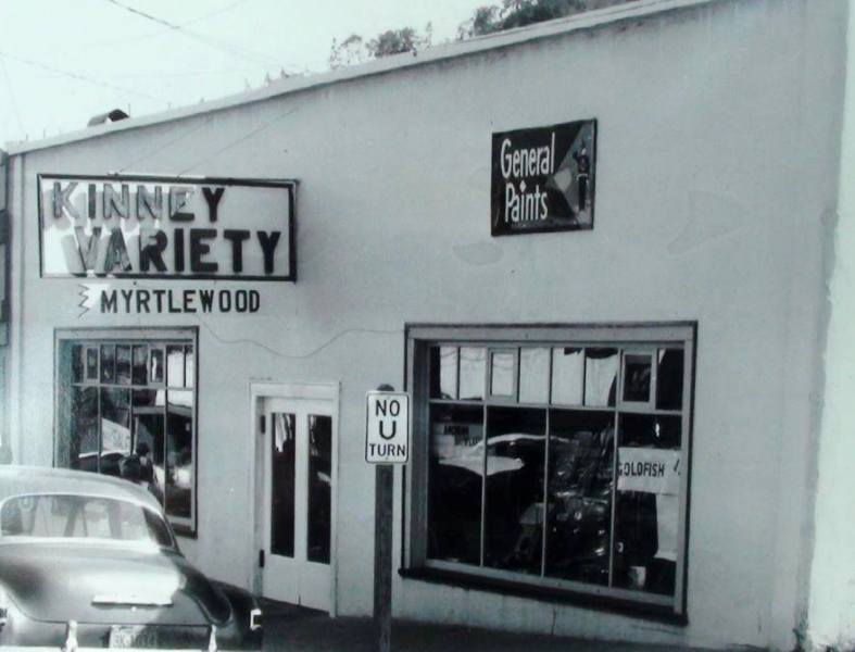 In the 1950's, Kinney Variety on Main Street, Myrtle Creek, Oregon.