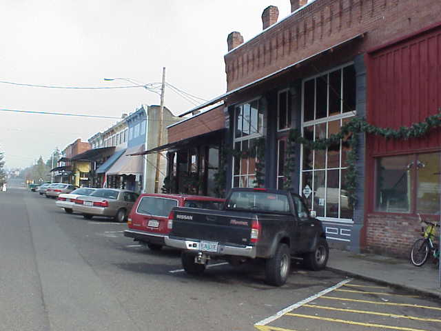The brick buildings on Main Street in Oakland, Oregon.