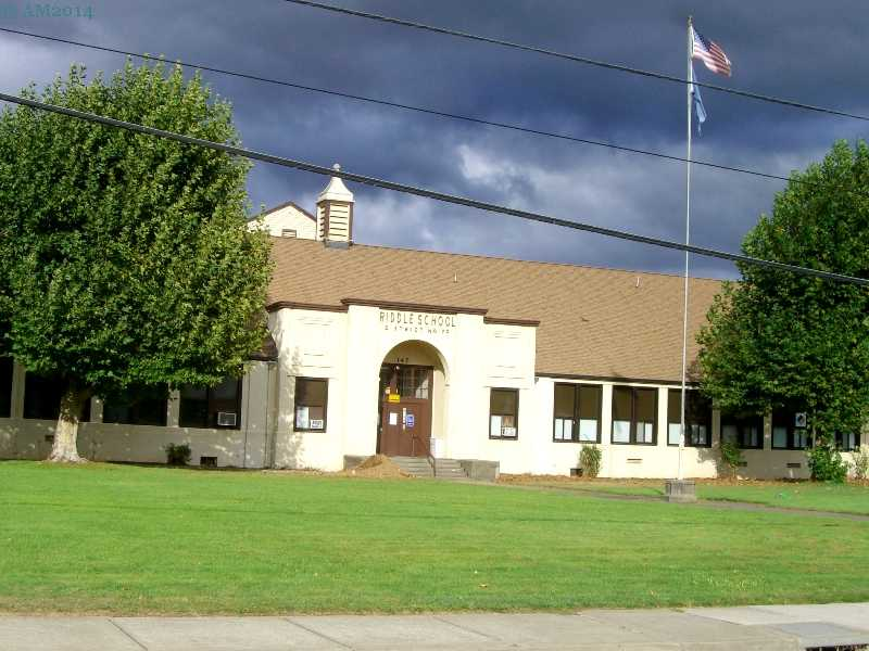 The high school building in Riddle, Oregon