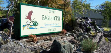 Welcome sign at Eagle Point, Oregon.