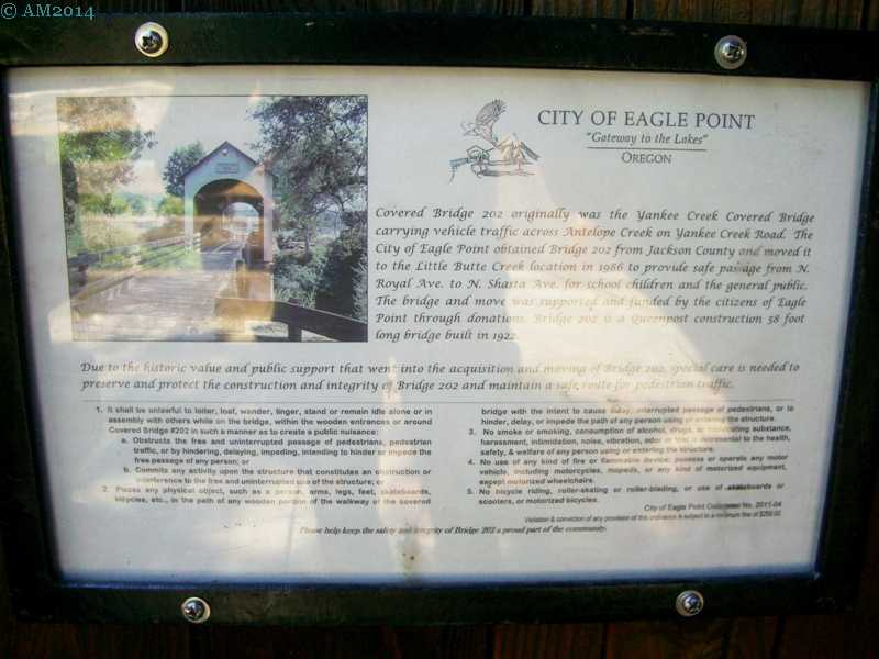 Plaque with the history of Yankee Creek covered bridge, Eagle Point, Oregon.