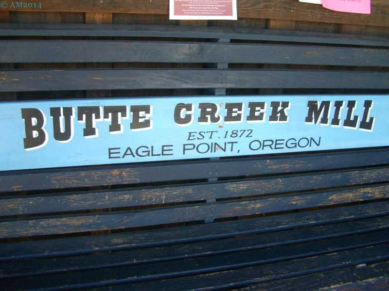 Business sign at Butte Creek mill, Eagle Point, Oregon.