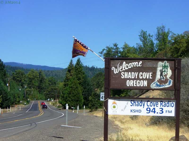 A welcome sign entering Shady Cove, Oregon.
