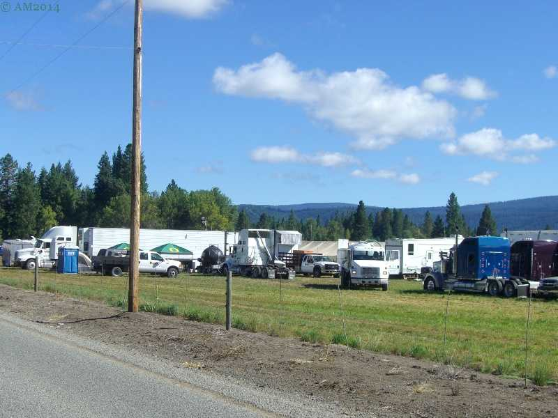 A forest fire fighting base camp near Prospect, Oregon.